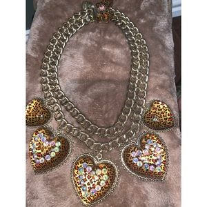 Rare Betsey Johnson leopard necklace!
